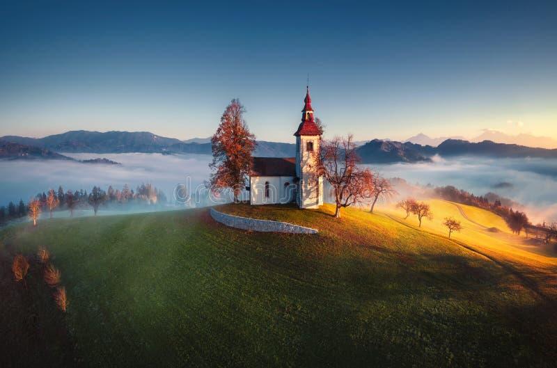Εναέρια άποψη της εκκλησίας Αγίου Tomas, Σλοβενία στοκ εικόνες με δικαίωμα ελεύθερης χρήσης