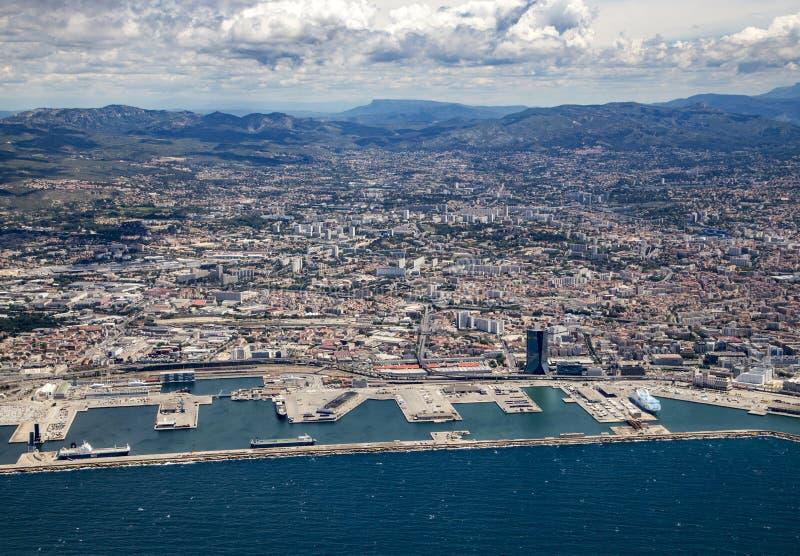 Εναέρια άποψη της Μασσαλίας στη Γαλλία στοκ εικόνα