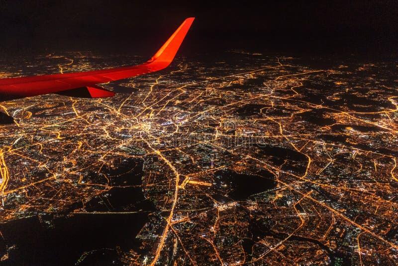 Εναέρια άποψη της Μόσχας τη νύχτα στοκ φωτογραφία με δικαίωμα ελεύθερης χρήσης