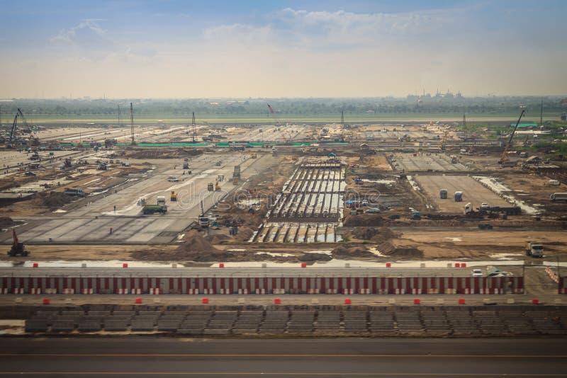 Εναέρια άποψη της νέας φάσης 2 επέκτασης αερολιμένων Suvarnabhumi κάτω από την κατασκευή στοκ φωτογραφία με δικαίωμα ελεύθερης χρήσης