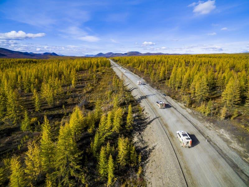 Εναέρια άποψη της οδήγησης αυτοκινήτων μέσω του δάσους στη εθνική οδό r στοκ εικόνα με δικαίωμα ελεύθερης χρήσης