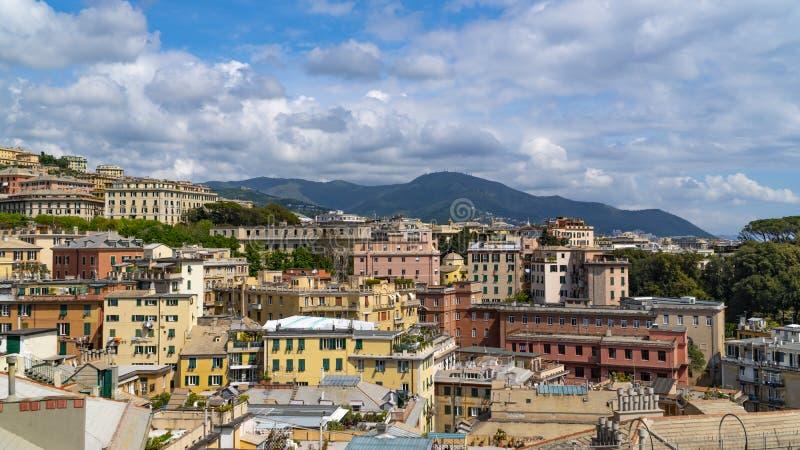 Εναέρια άποψη της παλαιάς πόλης Γένοβα Ορίζοντας Γένοβας, Ιταλία στοκ εικόνα