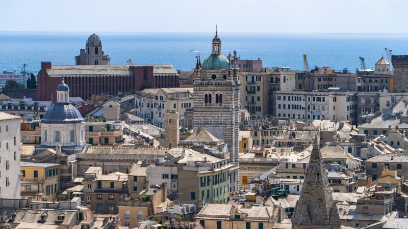 Εναέρια άποψη της παλαιάς πόλης Γένοβα Ορίζοντας Γένοβας, Ιταλία στοκ εικόνες με δικαίωμα ελεύθερης χρήσης
