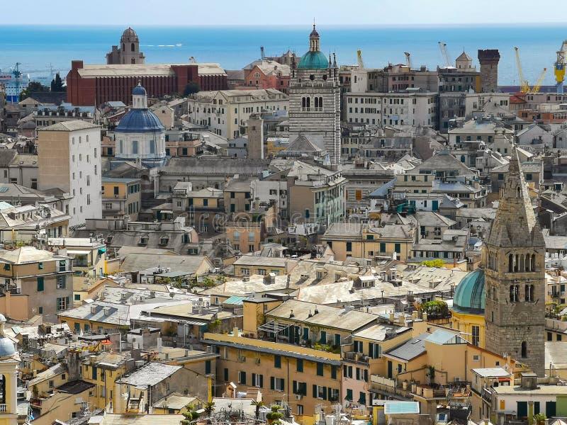 Εναέρια άποψη της παλαιάς πόλης Γένοβα Ορίζοντας Γένοβας, Ιταλία στοκ φωτογραφία με δικαίωμα ελεύθερης χρήσης