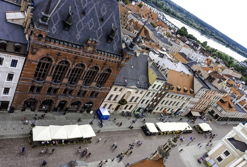 Εναέρια άποψη της παλαιάς πόλης με το δικαστήριο Artus - Τορούν, Πολωνία στοκ εικόνες με δικαίωμα ελεύθερης χρήσης
