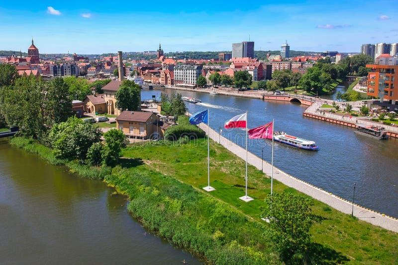 Εναέρια άποψη της παλαιάς πόλης του Γντανσκ στο θερινό τοπίο, Πολωνία στοκ φωτογραφίες με δικαίωμα ελεύθερης χρήσης