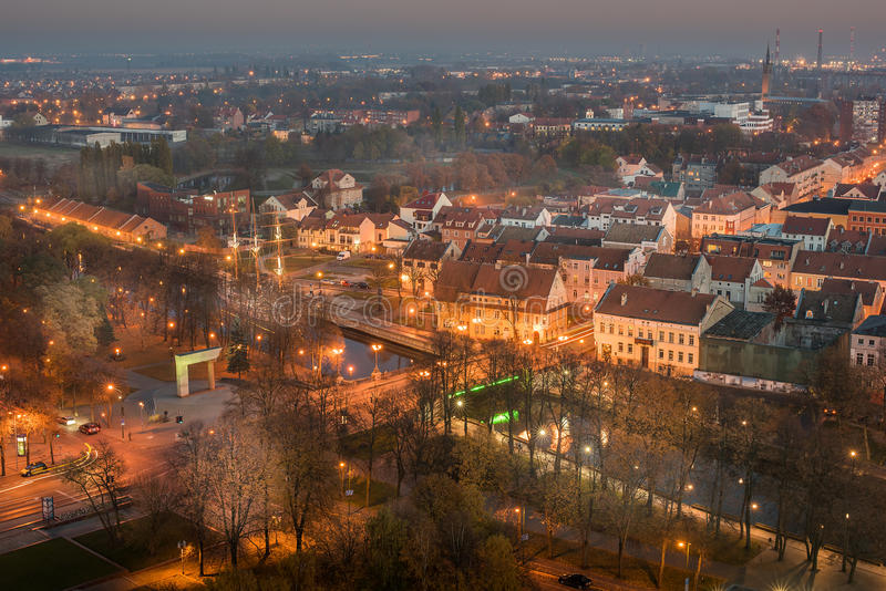 Εναέρια άποψη της παλαιάς πόλης σε Klaipeda, Λιθουανία στοκ εικόνα