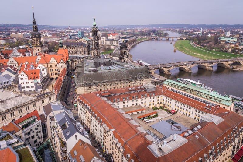 Εναέρια άποψη της παλαιάς πόλης στη Δρέσδη, Σαξωνία, Γερμανία στοκ εικόνα