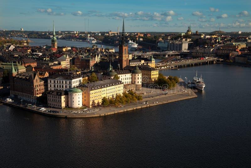 Εναέρια άποψη της παλαιάς πόλης Gamla Stan της Στοκχόλμης, Σουηδία στοκ φωτογραφίες