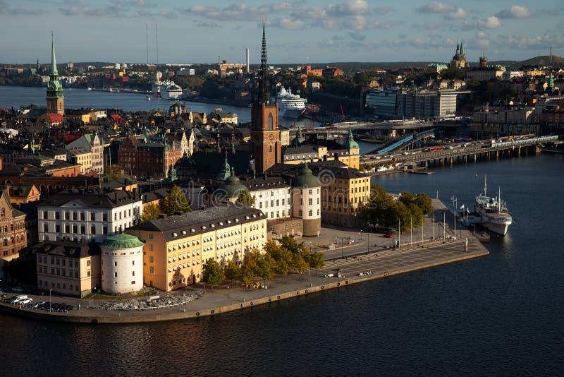 Εναέρια άποψη της παλαιάς πόλης Gamla Stan της Στοκχόλμης, Σουηδία στοκ φωτογραφία