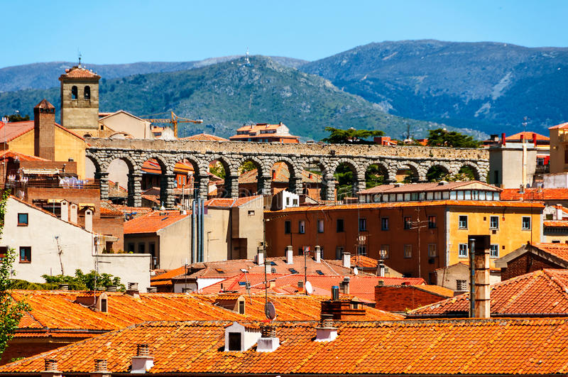 Εναέρια άποψη της παλαιάς πόλης Segovia, Ισπανία στοκ φωτογραφία