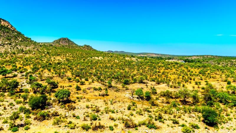 Εναέρια άποψη της περιοχής που περιβάλλει τον ποταμό Γερμανία-Selati όπου ενώνει τον ποταμό Olifants στο εθνικό πάρκο Kruger στοκ εικόνα