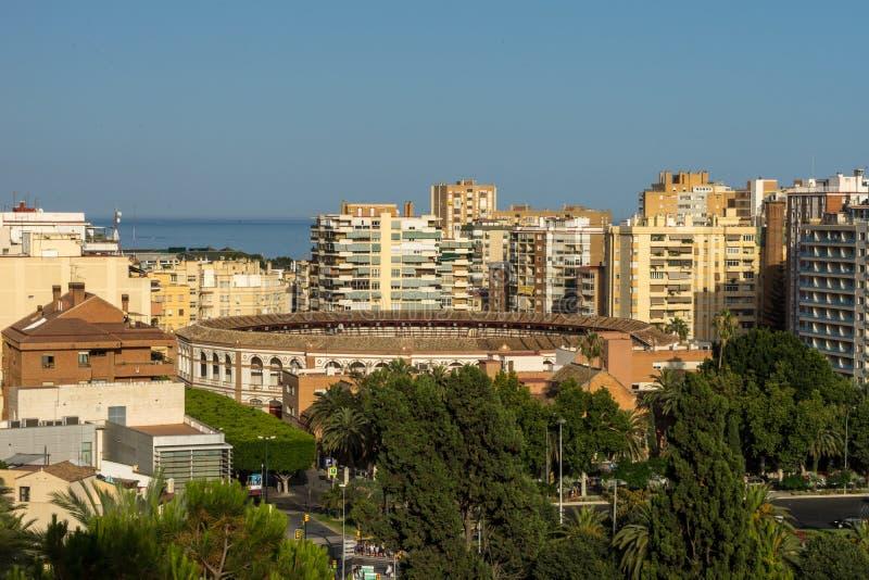 Εναέρια άποψη της περιοχής Malagueta και της αρένας ταυρομαχίας Λα Malagueta στο Μ στοκ εικόνα