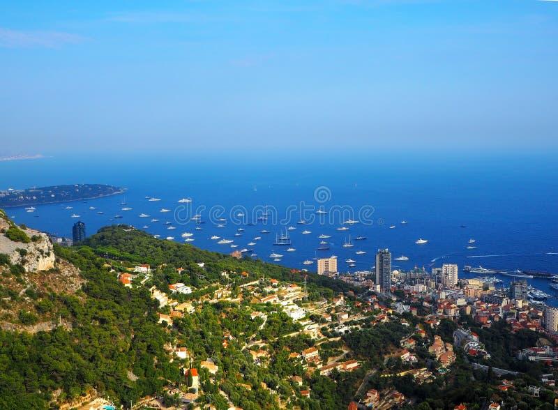 Εναέρια άποψη της πόλης του Μονακό Μόντε Κάρλο σε γαλλικό Riviera, κυανή ακτή στοκ φωτογραφία με δικαίωμα ελεύθερης χρήσης