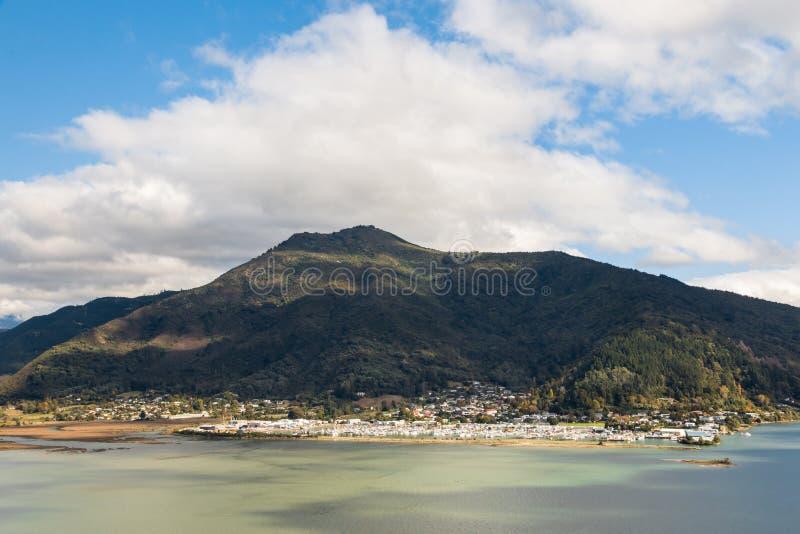 εναέρια άποψη της πόλης Havelock, νότιο νησί, Νέα Ζηλανδία στοκ εικόνα
