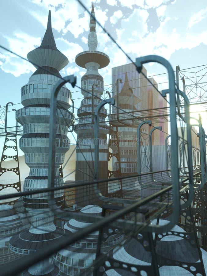 εναέρια άποψη της πόλης του Sci Fi με τα σύννεφα και τον ήλιο στοκ εικόνα
