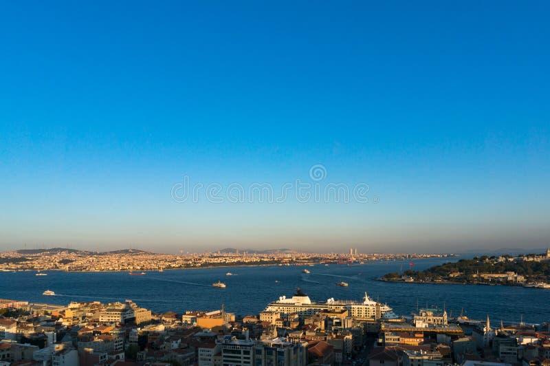 Εναέρια άποψη της σύγχρονης megalopolis της Ιστανμπούλ εικονικής παράστασης πόλης στοκ φωτογραφίες με δικαίωμα ελεύθερης χρήσης