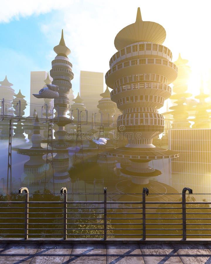 Εναέρια άποψη της φουτουριστικής πόλης με τα πετώντας διαστημόπλοια διανυσματική απεικόνιση