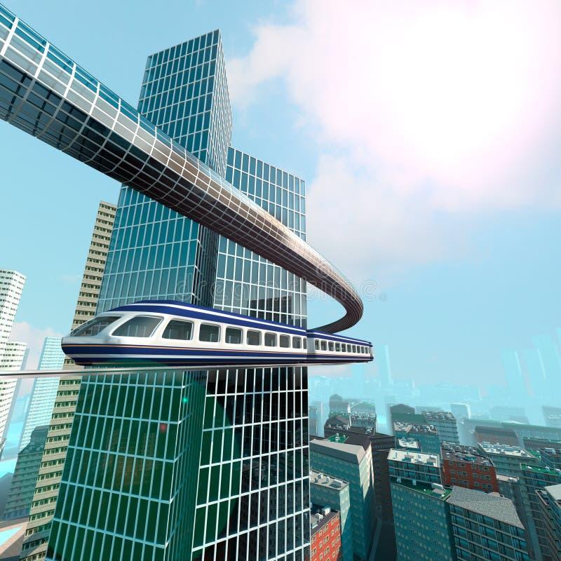 Εναέρια άποψη της φουτουριστικής πόλης διανυσματική απεικόνιση