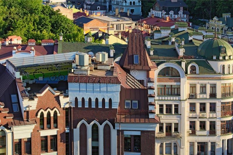 Εναέρια άποψη τοπίων Vozdvizhenka Είναι το μικρό σύγχρονο τμήμα της αρχαίας γειτονιάς Podol στοκ εικόνα με δικαίωμα ελεύθερης χρήσης