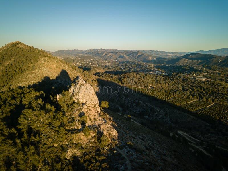 Εναέρια άποψη του ίχνους Penia Σαν Ντιέγκο πεζοπορίας στη Βαλένθια, Ισπανία στοκ εικόνα