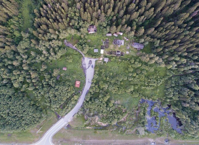 Εναέρια άποψη του αγροτικού δρόμου στο δάσος το καλοκαίρι στοκ εικόνες