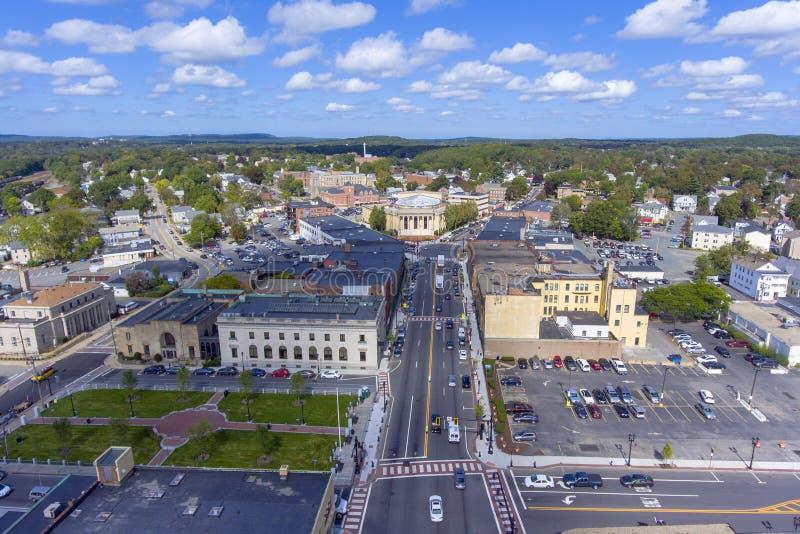 Εναέρια άποψη του Δημαρχείου Framingham, Μασαχουσέτη, ΗΠΑ στοκ εικόνες