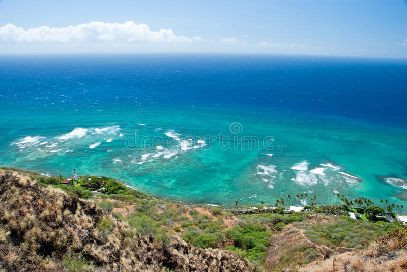 Εναέρια άποψη του επικεφαλής φάρου διαμαντιών με τον κυανό ωκεανό στο backg στοκ φωτογραφία με δικαίωμα ελεύθερης χρήσης