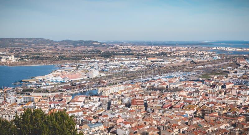 Εναέρια άποψη του ιστορικών κέντρου πόλεων και του λιμανιού Sete, Γαλλία στοκ εικόνες με δικαίωμα ελεύθερης χρήσης