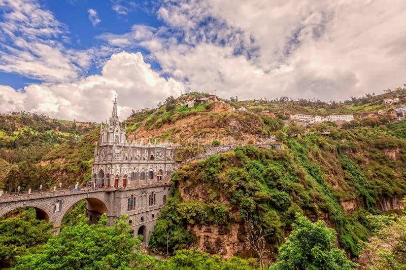 Εναέρια άποψη του καθεδρικού ναού Las Lajas σε Ipiales, Κολομβία στοκ φωτογραφίες με δικαίωμα ελεύθερης χρήσης