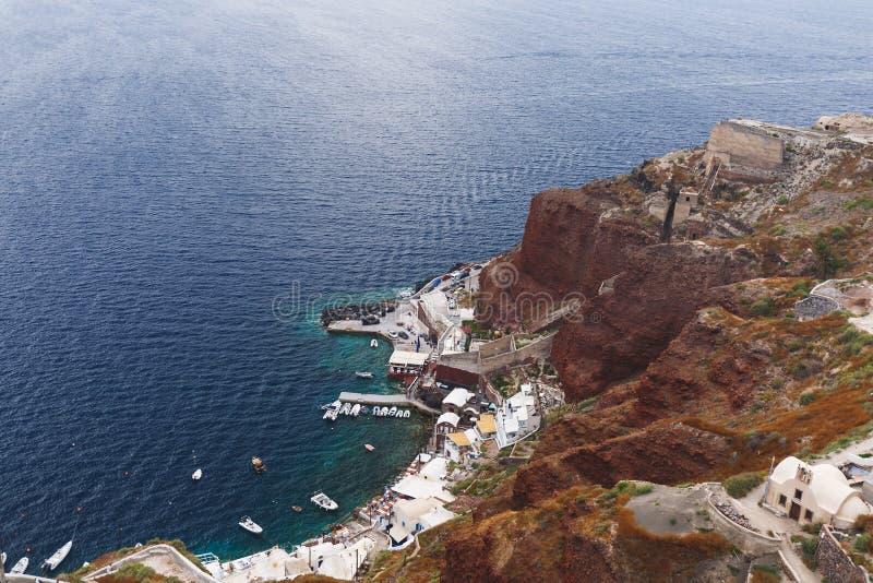 Εναέρια άποψη του λιμένα Ammoudi Oia Santorini, Ελλάδα στοκ εικόνες με δικαίωμα ελεύθερης χρήσης