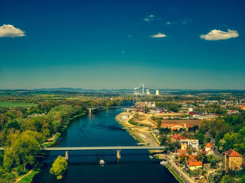 Εναέρια άποψη του Μελένικου από τον ποταμό vltava στοκ φωτογραφία με δικαίωμα ελεύθερης χρήσης