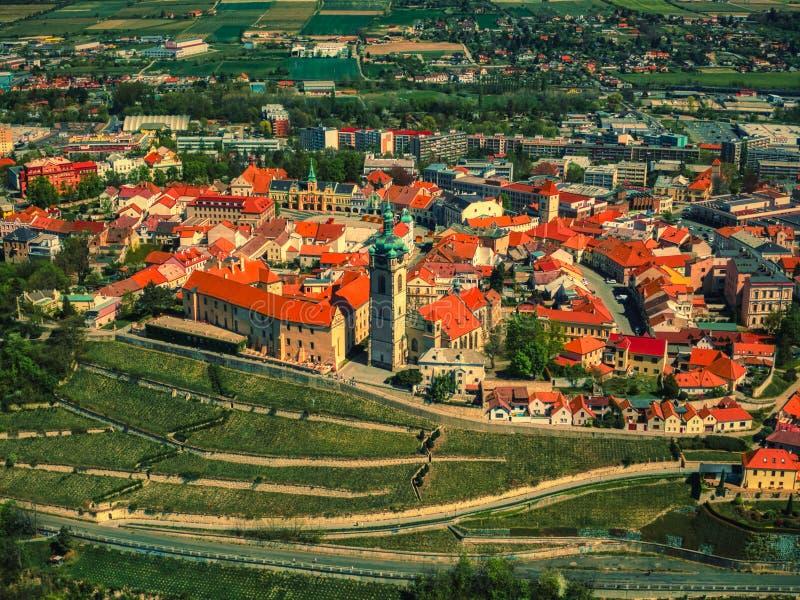 Εναέρια άποψη του Μελένικου από τον ποταμό vltava στοκ εικόνες