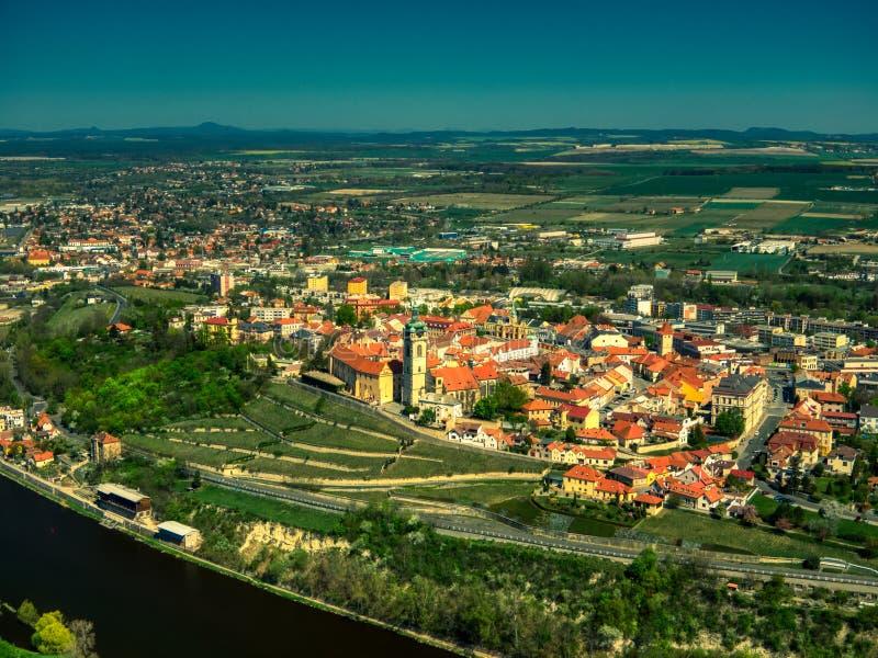 Εναέρια άποψη του Μελένικου από τον ποταμό vltava στοκ φωτογραφίες