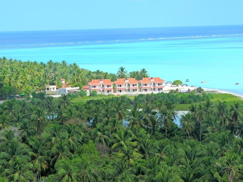 Εναέρια άποψη του νησιού Minicoy στοκ φωτογραφία