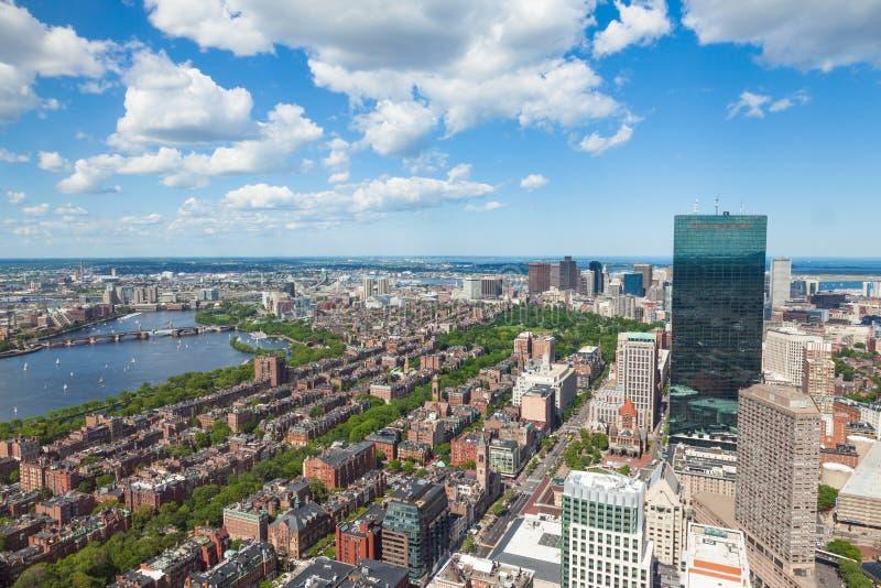 Εναέρια άποψη του ορίζοντα της Βοστώνης - Μασαχουσέτη - ΗΠΑ στοκ εικόνα