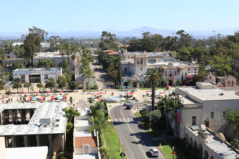 Εναέρια άποψη του πάρκου BALBOA στο Σαν Ντιέγκο, Καλιφόρνια στοκ φωτογραφία με δικαίωμα ελεύθερης χρήσης