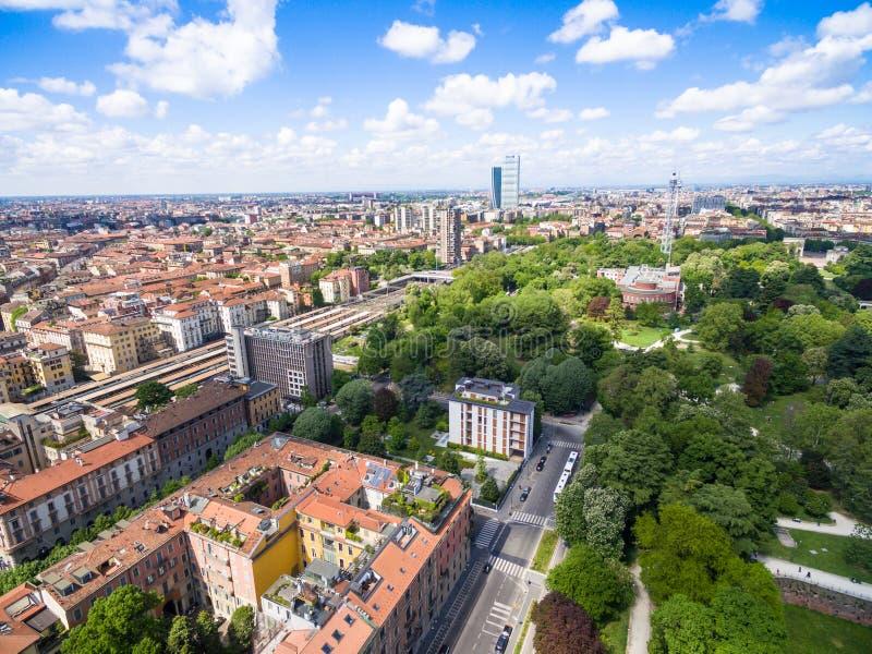 Εναέρια άποψη του πάρκου Sempione στο Μιλάνο, Ιταλία στοκ εικόνες με δικαίωμα ελεύθερης χρήσης