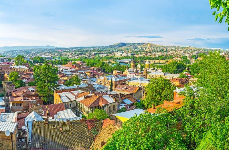 Εναέρια άποψη του παλαιού Tbilisi στοκ φωτογραφία