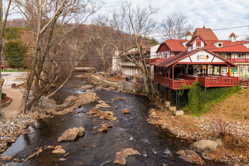 Εναέρια άποψη του ποταμού Chattahoochee, Helen, ΗΠΑ στοκ φωτογραφίες