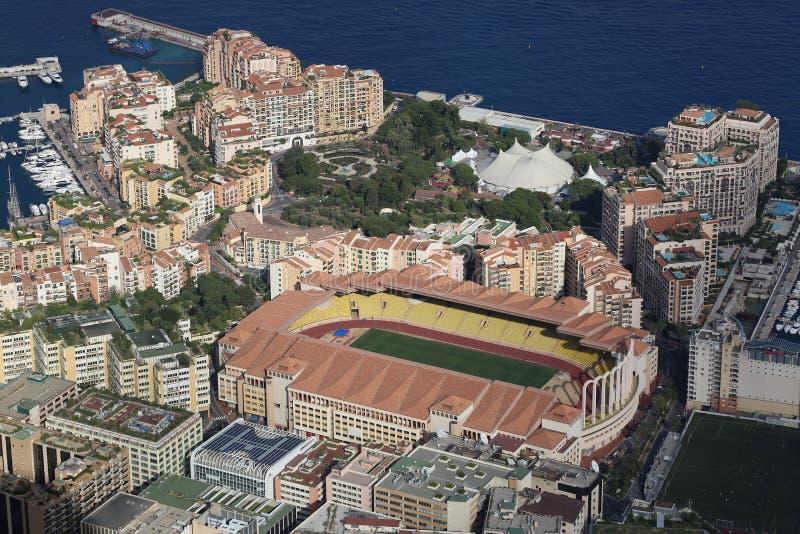Εναέρια άποψη του σταδίου Louis ΙΙ και Fontvieille στοκ εικόνα με δικαίωμα ελεύθερης χρήσης