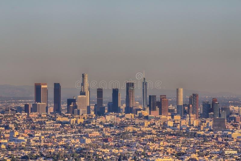 Εναέρια άποψη του στο κέντρο της πόλης Λος Άντζελες σε Καλιφόρνια στοκ εικόνες με δικαίωμα ελεύθερης χρήσης