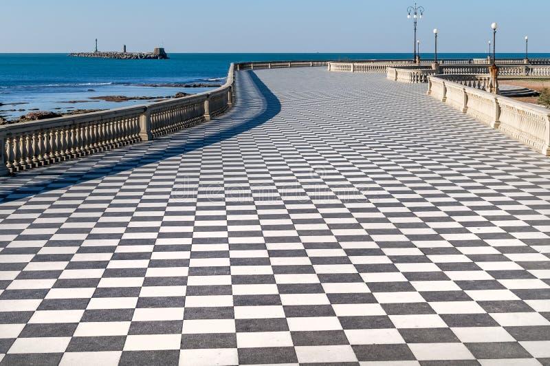 Εναέρια άποψη του όμορφου Terrazza Mascagni Λιβόρνου χωρίς ανθρώπους, Τοσκάνη, Ιταλία στοκ φωτογραφία με δικαίωμα ελεύθερης χρήσης