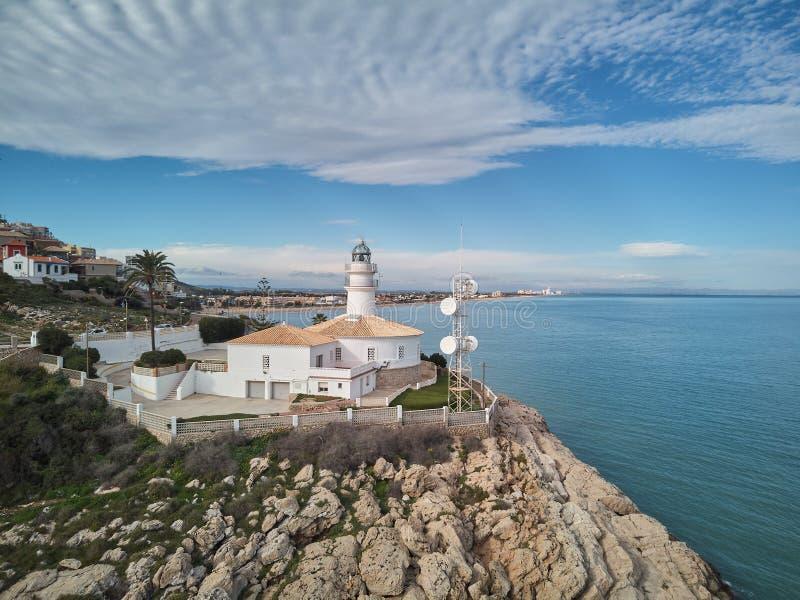 Εναέρια άποψη του Cullera φάρου, Βαλένθια Ισπανία στοκ εικόνα με δικαίωμα ελεύθερης χρήσης