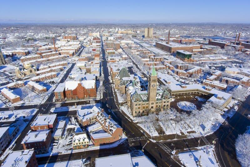 Εναέρια άποψη του Lowell Δημαρχείο, Μασαχουσέτη, ΗΠΑ στοκ εικόνες