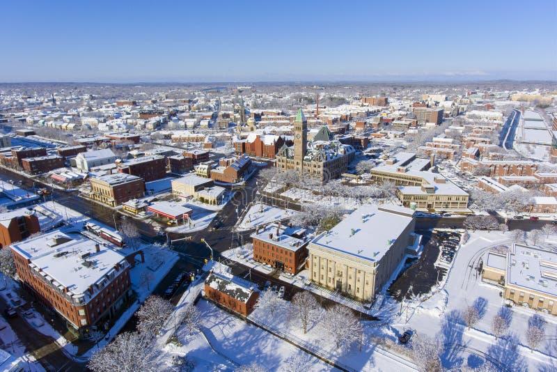 Εναέρια άποψη του Lowell Δημαρχείο, Μασαχουσέτη, ΗΠΑ στοκ εικόνα με δικαίωμα ελεύθερης χρήσης