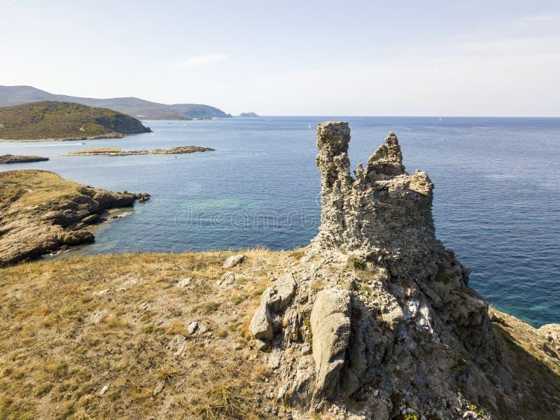 Εναέρια άποψη των νησιών Finocchiarola, Mezzana, ένα Terra, χερσόνησος της ΚΑΠ Κορσική, Κορσική στοκ εικόνες με δικαίωμα ελεύθερης χρήσης