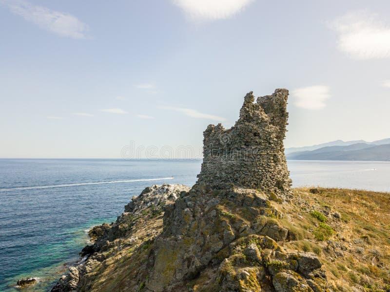 Εναέρια άποψη των νησιών Finocchiarola, Mezzana, ένα Terra, χερσόνησος της ΚΑΠ Κορσική, Κορσική στοκ φωτογραφία με δικαίωμα ελεύθερης χρήσης