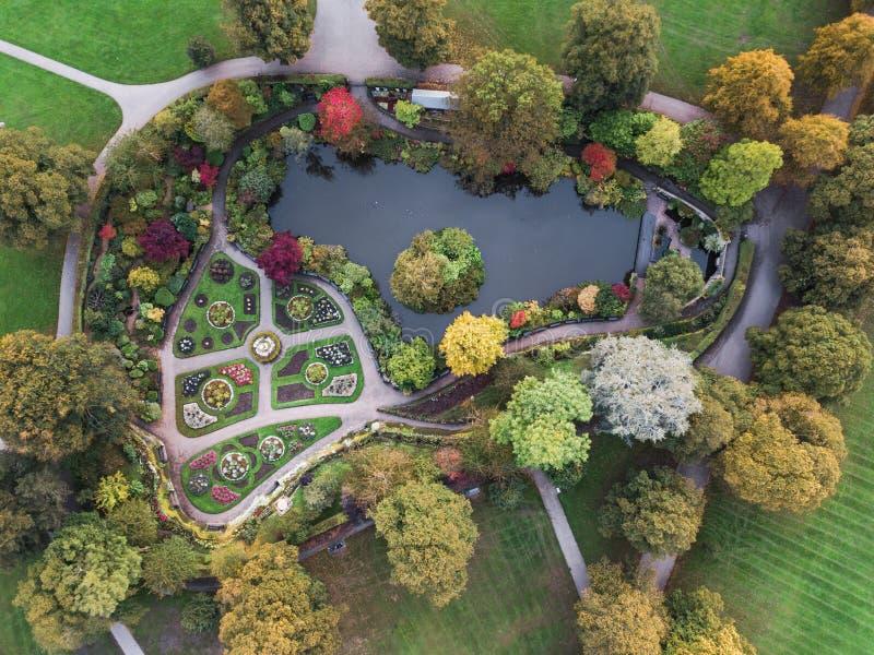 Εναέρια άποψη Dingle, πάρκο λατομείων, Shrewsbury στοκ εικόνες