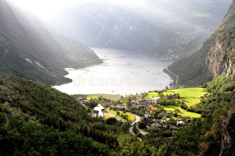 Εναέρια άποψη Geirangerfjord στο καλοκαίρι στοκ φωτογραφίες